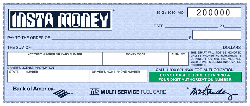 blue insta money is new starting february 1 multi service fuel card